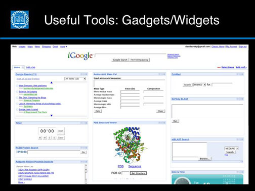 Useful Tools:  Gadgets and Widgets