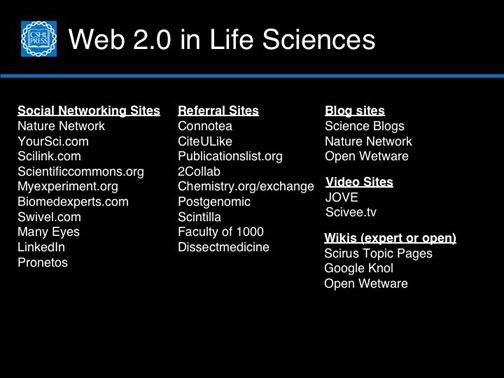 Web 2.0 in the Life Sciences